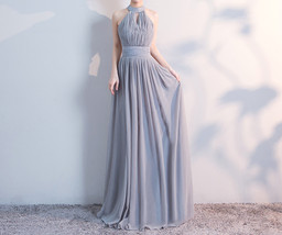 Gray Full Chiffon Bridesmaid Dresses Gray Wedding Bridesmaid Maxi Chiffon Dress  image 4