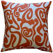 Pillow Decor - Tuscany Linen Swirl Orange Throw Pillow 20x20 - $49.95