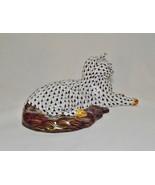 Herend Porcelain Cat, Lying, VHNM---15381-0-00 Black Fishnet - $525.00