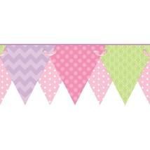 Girls Geometric Pennant / Flags in Pink, Purple & Lime Wallpaper Border ... - $17.22