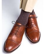 Handmade Men Tan brown Oxford Brogue formal shoes, Men dress shoes, Tuxe... - $164.99