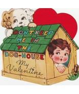 Vintage Valentine Card Spaniel Boy in Dog House A-Meri-Card 1940s Die Cut - $7.91