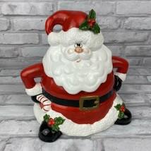 Fitz & Floyd Jolly Old Santa Christmas Ceramic Cookie Jar Mistletoe 1987 - $38.51