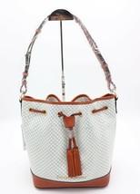 NWT Dooney & Bourke Cordova White Leather Drawstring Bucket Shoulder Bag  $328 - $198.00