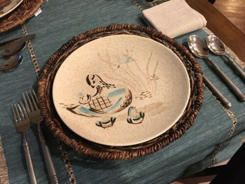 RED WING POTTERY BOB WHITE Blue Quail Bird Dinner Plate (2 available) EXCELLENT
