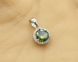 925 Silver - Round Cut Faceted Peridot & White Cubic Zirconia Pendant - ... - $18.87