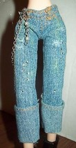 "Bratz Barbie Denim Jeans Rolled Hems Beaded Chain & Jewels Trims 10"" Dolls - $12.86"