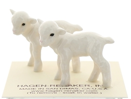 Hagen-Renaker Miniature Ceramic Lamb Figurine Baby White Set of 2