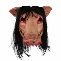 j2 Line Halloween Scary Mask Saw Pig Head Mask with Hair (One Size Flesh) - £24.21 GBP
