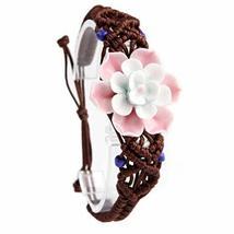 PANDA SUPERSTORE 2 Pcs Unique Hand-Made Ceramic Flower Bracelets Charming Bracel