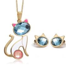Womens Blue Crystal Cute Cat Shape Pendant Necklace Stud Earrings Purple... - $33.17