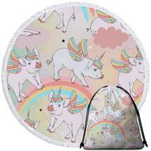 Rainbow Unicorn Pigs Beach Towel - $12.32+