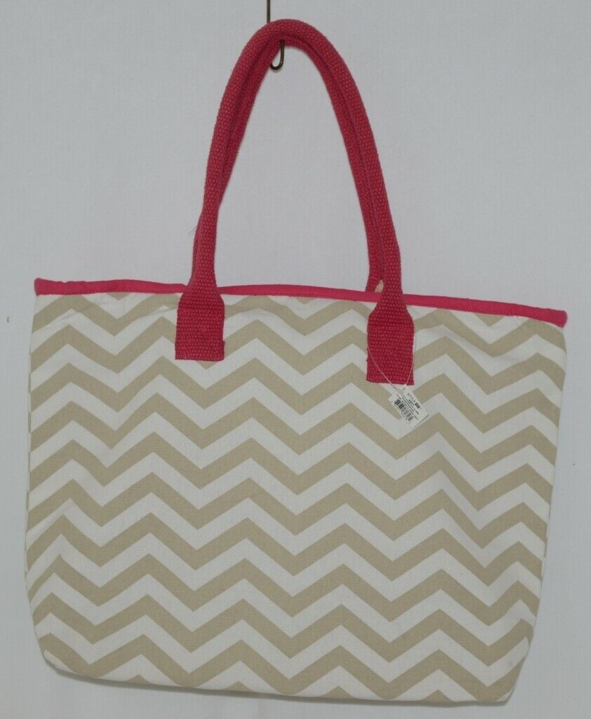 GANZ Style 101 Product Number ER39001 Large Canvas Tote Chevron Cream Tan