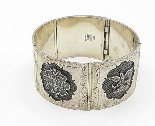 PLAFINA MEXICO 925 Silver - Vintage Large Etched Story Teller Bracelet - B4966