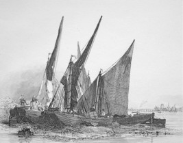 BARGES Sailboats on Sand - Original Etching print by E.W. Cooke - $19.09