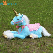 BOOKFONG 85CM Large Stuffed Animals Lying Unicorn Plush Toy Blue Unicorn... - $24.34+