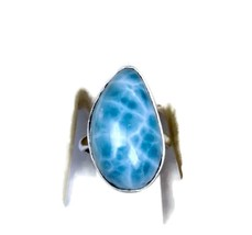 DOMINICAN  NATURAL SIZE 7  NICE  BLUE  LARIMAR  RING .925 HANDMADE - $32.67