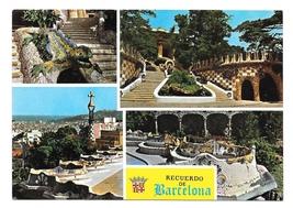 Spain Recuerdo de Barcelona Parque Guell Park Gardens Multiview Postcard... - $4.99