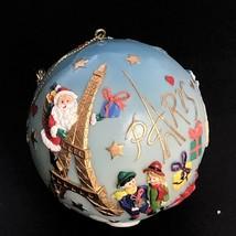 Vintage 90s Santa Santa Claus Ball Christmas Ornament 3D Paris Eiffel  - $51.99