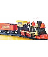 Boys Train Set Lights Sounds Gold Red Western Express 22pc New - $29.99