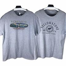 Lot of 2 Yosemite Yellowstone National Parks Mens T-Shirt Gray Heathered XL - $41.78