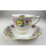 Vintage colclough Cup and Saucer White with Pink Roses - $14.84