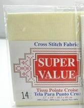 "Super Value 14 Count Aida Cross Stitch Fabric - Ivory 12"" x 18"" - $7.55"