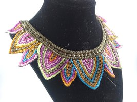 Vintage Hand Beaded Micro Bead Collier, Vintage Glass Micro Bead Necklace - $32.00