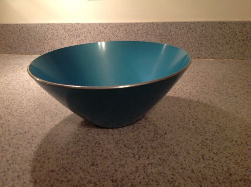 VintAge Mid Century Modern anodized Metal Turquoise Bowl