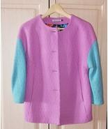 Womens crop purple and green wool collarless coat - $60.00