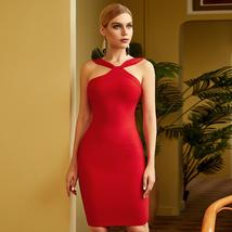 2021 News Winter Women Fashion Red Bodycon Bandage Dress Sexy Sleeveless Straple