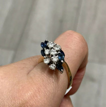 18ct Yellow Gold Sapphire And Diamond Cluster Ring 18k - $1,371.55