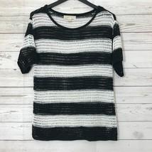 Michael Kors  Black White Striped Short Sleeve Crochet Top Size Small - $10.84
