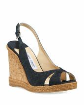 Jimmy Choo Amely Denim Cork Wedge Sandals Size 40 MSRP: $525.00 - $326.70