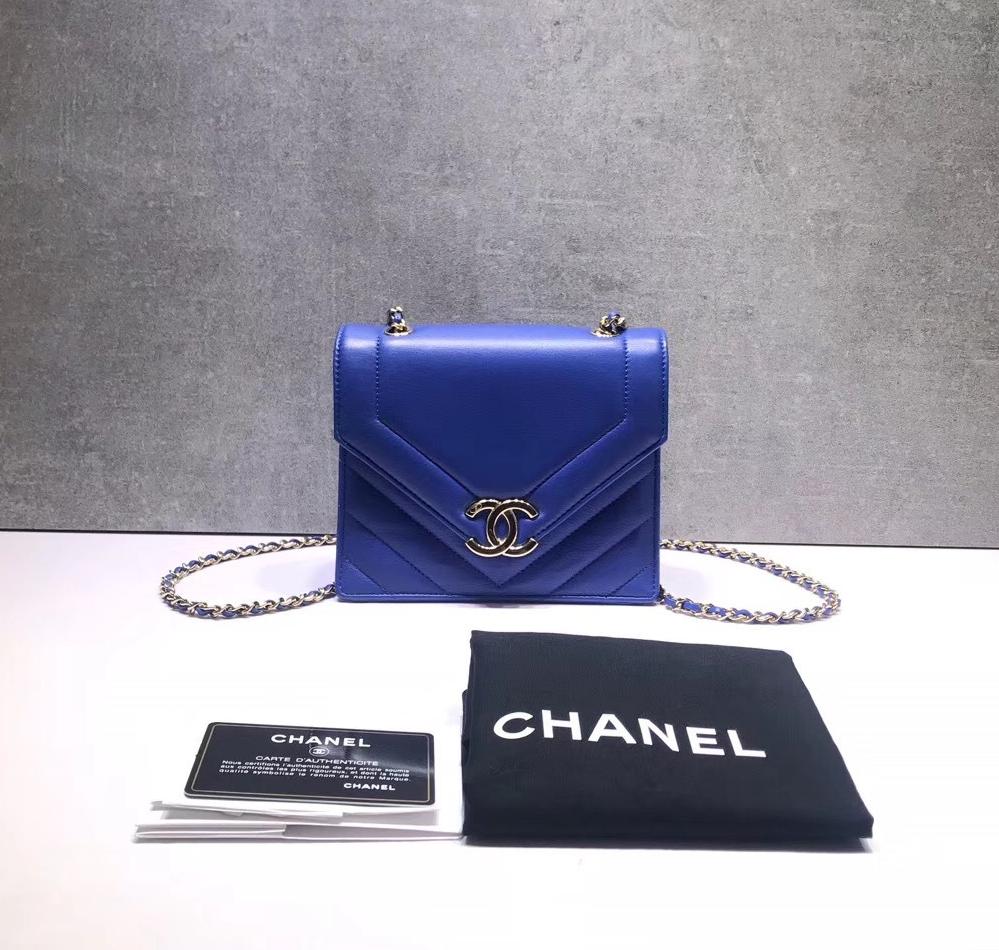 AUTHENTIC NEW CHANEL 2019 ROYAL BLUE CHEVRON CALFSKIN DIAMOND FLAP BAG GHW