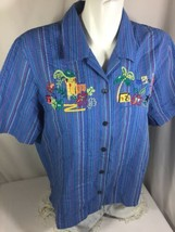 Koret Francisca  Women Blue Button Shirt Size L Red Green Striped embroi... - $22.97