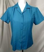 Vintage JC PENNEY Womens Blouse Sz 10 Polyester Shirt Button Top Aqua Gr... - $24.66