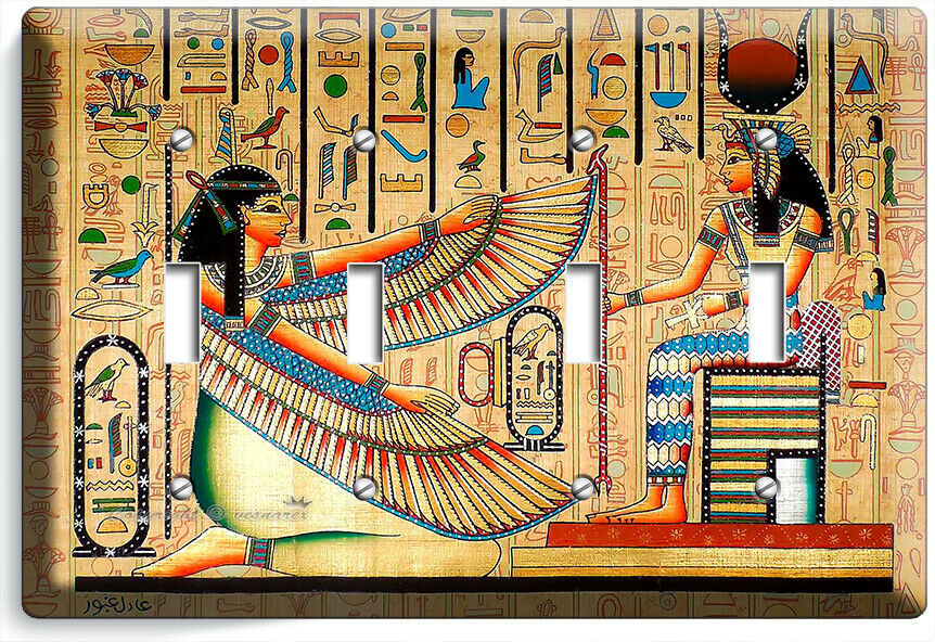 ANCIENT EGYPTIAN GODDESSES MAAT ISIS 4 GANG LIGHT SWITCH PLATE WALL ART HD DECOR