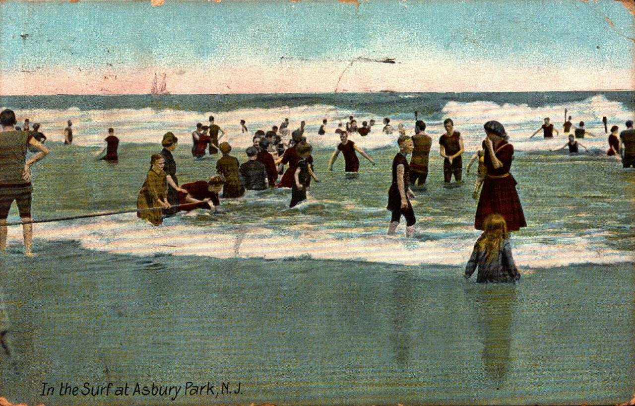 Primary image for VINTAGE  POSTCARD- IN THE SURF AT ASBURY PARK, MADE IN GERMANY BK21