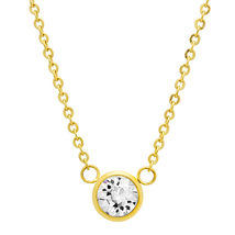 """PIATELLA 18K Gold Plated Solitare necklace adorned with Swarovski Crystal 18"""" - $14.99"""