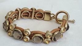 "7"" Vintage Faceted Smokey Quartz Crystal Toggle Bracelet, Band, Citrine Accents - $9.89"