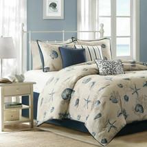 Madison Park Bayside 7 pc Comforter Set Ocean Seashells   Sz Queen - $108.69