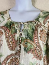 Tommy Bahama Womens Size L Tropical Paisley Pattern Blouse 3/4 Sleeve Ramie - $12.75