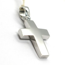 SOLID 18K WHITE GOLD SQUARE CROSS, 0.9 INCHES, ITALY MADE, SMOOTH - $470.00