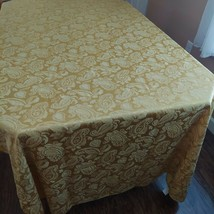 Damask Brocade Linen Gold Dining Tablecloth Size 57 x 100 Paisley Floral... - $29.80