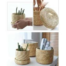 1pc Storage Basket with Lid Straw Woven Storage Box Gift Basket for Kitc... - €39,26 EUR