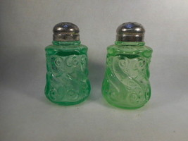 Vintage Pair Green Depression Vaseline Glass Swirl Salt and Pepper Shakers - $38.56