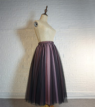 Women Black Pink Long Tutu Skirt Outfit High Waist Tulle Party Skirt Plus Size image 4