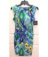 NEW Ellen Tracy Women's Sleeveless Belted Dress Blue Multi Color Pockets... - $14.15