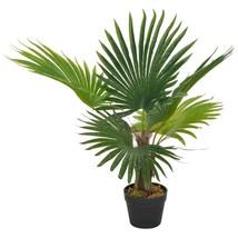 "vidaXL Artificial Plant Palm with Pot Green 27.6"" Fresh Faux Plant Leaf ... - $41.99"